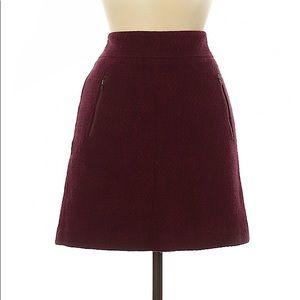 Ann Taylor LOFT Burgundy Tweed Zipper A-Line Skirt